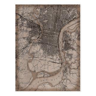 Vintage Philadelphia 1898 Map Postcard