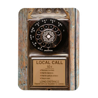 Vintage phone dial telephone rotary antique rectangular photo magnet