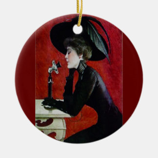 Vintage phone lady ceramic ornament