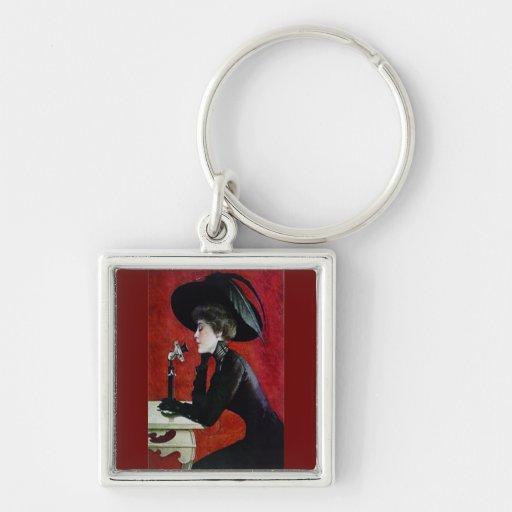 vintage phone woman black dress hat lady key chain