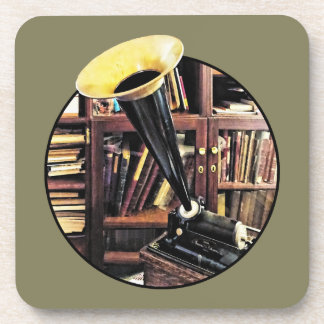 Vintage Phonograph In Library Circa 1880 Coaster