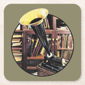 Vintage Phonograph In Library Circa 1880 Square Paper Coaster