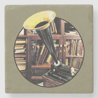 Vintage Phonograph In Library Circa 1880 Stone Coaster