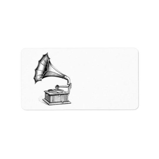 Vintage Phonograph Record Player Music Instrument Address Label