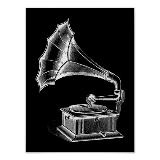 Vintage Phonograph Record Player Musical Black Poster