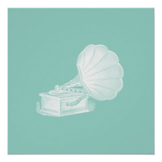 Vintage Phonograph Sea Green White Gramophone Cool Poster