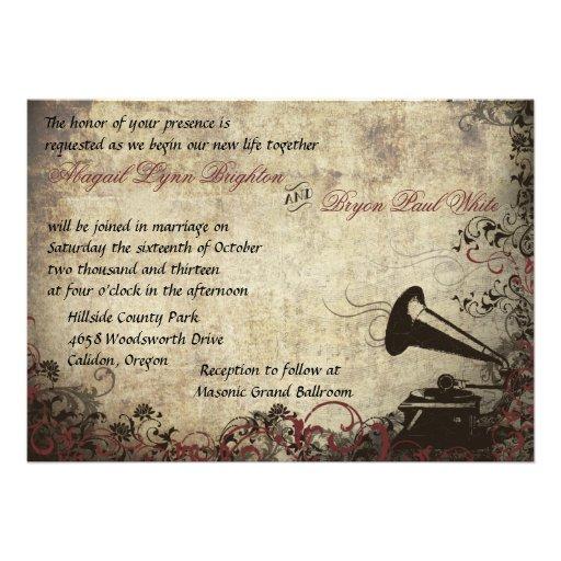 Vintage Phonograph Wedding Invitation Maroon