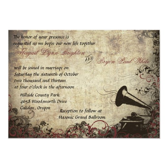 Vintage Phonograph Wedding Invitation Maroon