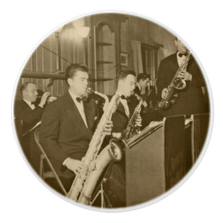 Vintage Photo Big Band Sax Ceramic Knob