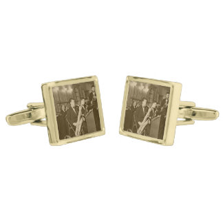 Vintage Photo Big Band Sax Gold Finish Cufflinks