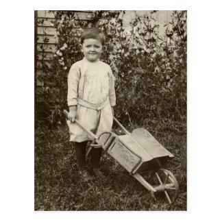 Vintage Photo- Boy- Wheelbarrow-  Postcard