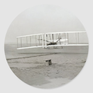 Vintage photo First Plane Flight Wright Brothers Round Sticker