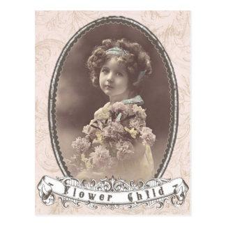 vintage photo flower child postcard