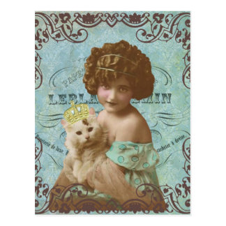 vintage photo little girl and cat postcard