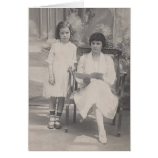 Vintage Photo Mother and Daughter Greeting Card