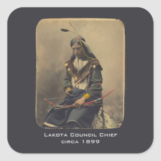 Vintage Photo Native American Lakota Indian Chief Square Sticker