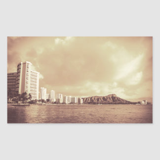 Vintage Photo Of Hawaii Beach Rectangle Sticker