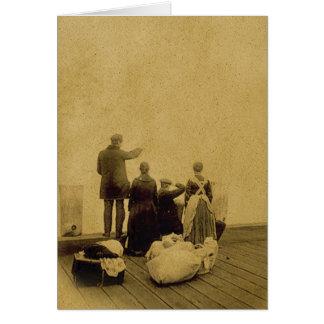 Vintage Photo of Immigrants on Ellis Island Card