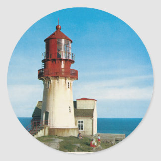Vintage photo of Lindesnes Lighthouse Round Sticker