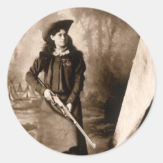 Vintage Photo of Miss Annie Oakley Holding a Rifle Round Sticker