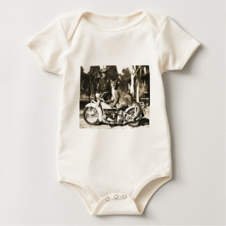 vintage photo of police officer on motorcycle puma baby bodysuit
