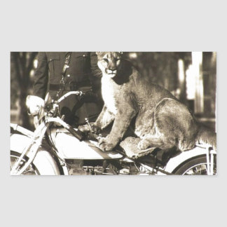 vintage photo of police officer on motorcycle puma rectangular sticker