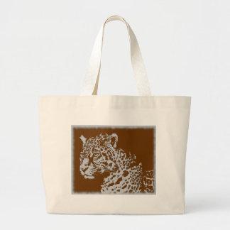 Vintage Photo Sepia Big Cat Feline Leopard Print Large Tote Bag