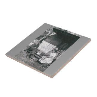 vintage photo trivet tile