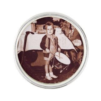 Vintage Photograph Drummer Boy c 1930s Lapel Pin