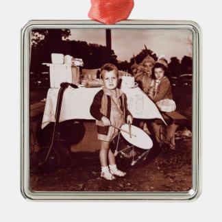 Vintage Photograph Drummer Boy c 1930s Metal Ornament