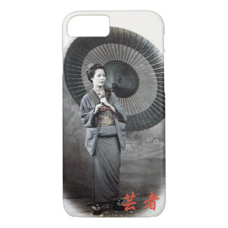 Vintage Photograph:  Geisha Girl with Umbrella iPhone 8/7 Case