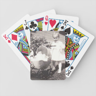 Vintage Photograph Little Girl w Baby Buggy Bicycle Playing Cards