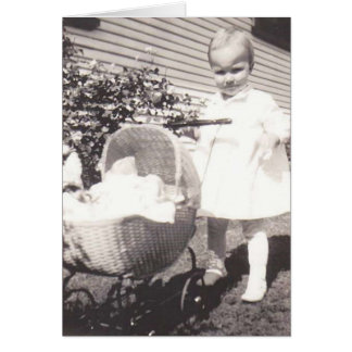 Vintage Photograph Little Girl w Baby Buggy Card