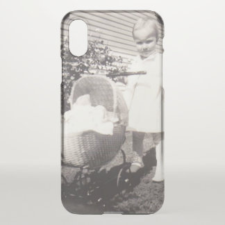 Vintage Photograph Little Girl w Baby Buggy iPhone X Case