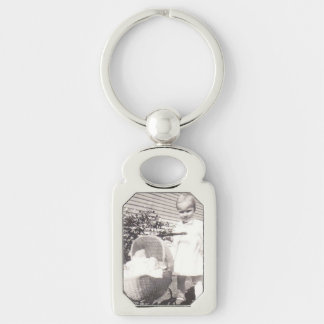 Vintage Photograph Little Girl w Baby Buggy Key Ring