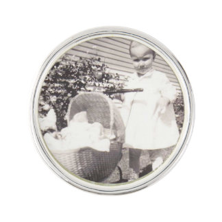 Vintage Photograph Little Girl w Baby Buggy Lapel Pin