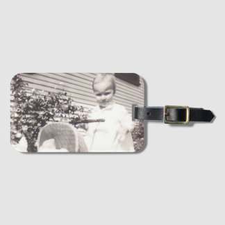 Vintage Photograph Little Girl w Baby Buggy Luggage Tag