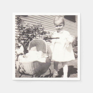 Vintage Photograph Little Girl w Baby Buggy Paper Napkins
