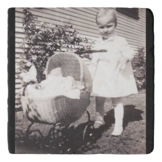 Vintage Photograph Little Girl w Baby Buggy Trivet