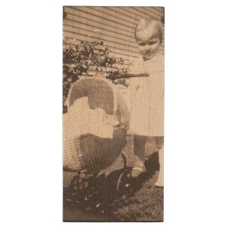 Vintage Photograph Little Girl w Baby Buggy Wood USB Flash Drive