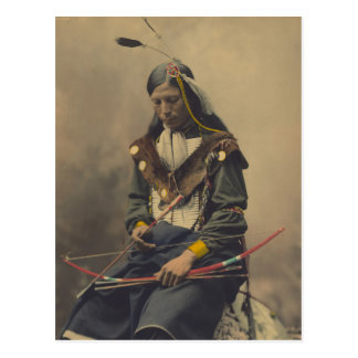 Vintage Photograph of Cherokee Man with Bow Postcard