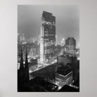Vintage Photograph of Rockefeller Center (1933) Poster
