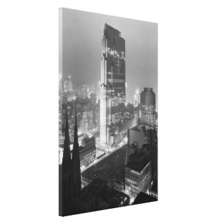 Vintage Photograph of Rockefeller Center (1933) Stretched Canvas Print