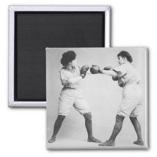 Vintage Photograph Women Boxers Refrigerator Magnets