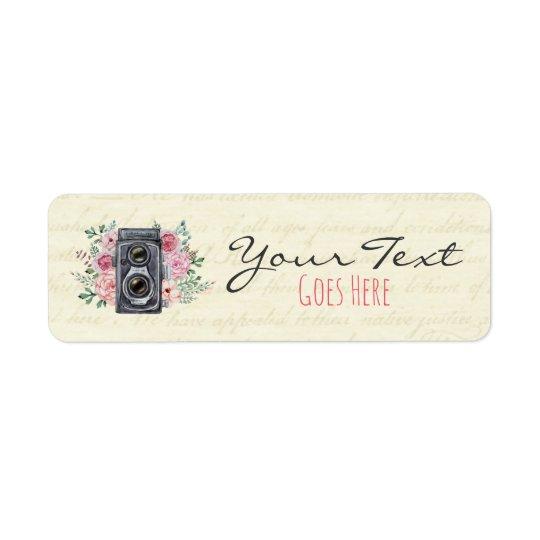 Vintage Photography Camera Rustic Rose Photograper Return Address Label
