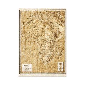 Vintage physical map of Africa Canvas Print
