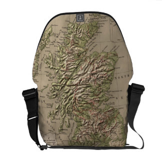 Vintage Physical Map of Scotland (1880) Messenger Bags
