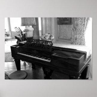 Vintage Piano Black & White Photograph Poster