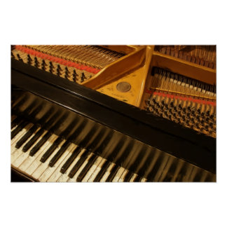 Vintage Piano Keyboard Painting Poster