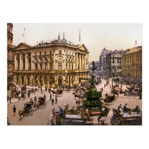 Vintage Piccadilly Circus London England Postcard
